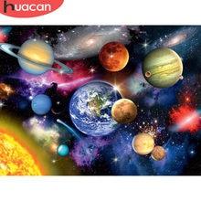 HUACAN 5D diamentowa malowanie pełna kwadratowa sceneria wszechświata diamentowa haft planeta krzyż zestaw do szycia prezent Home Decor