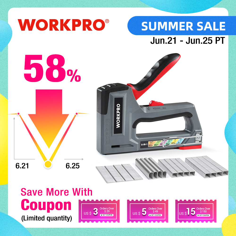 WORKPRO 6-in-1 Heavy Duty Staple Gun for Fixing Material Manual Nail Gun Wth Two Power Options for DIY Home Decor