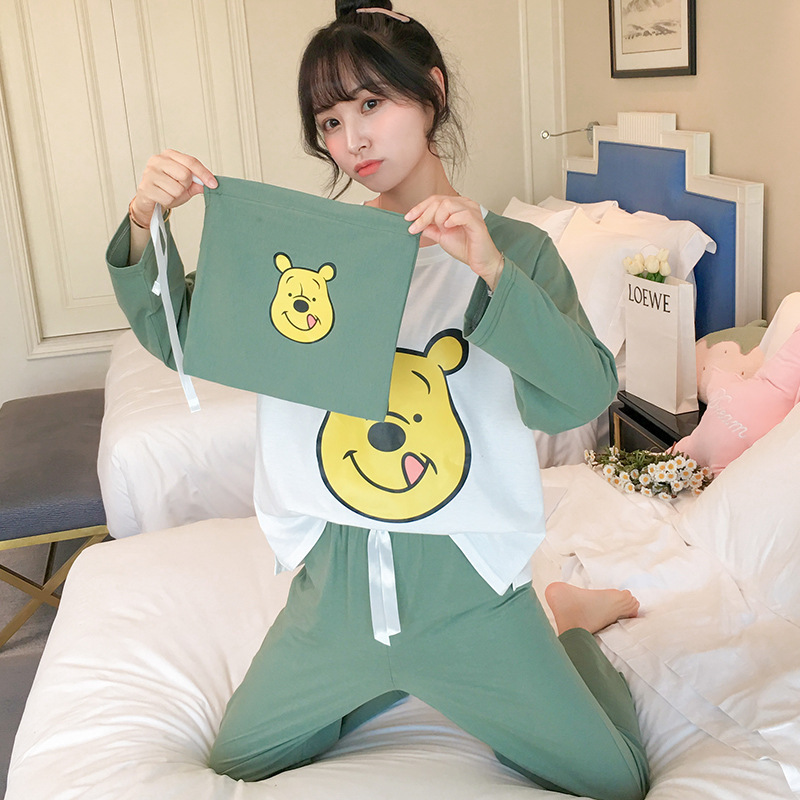 WOMEN'S Pajama 2019 Autumn WOMEN'S Long Sleeve Cotton Sweet Winnie-the-pooh Cloth Bag Cartoon WOMEN'S Dress Of Home Wear