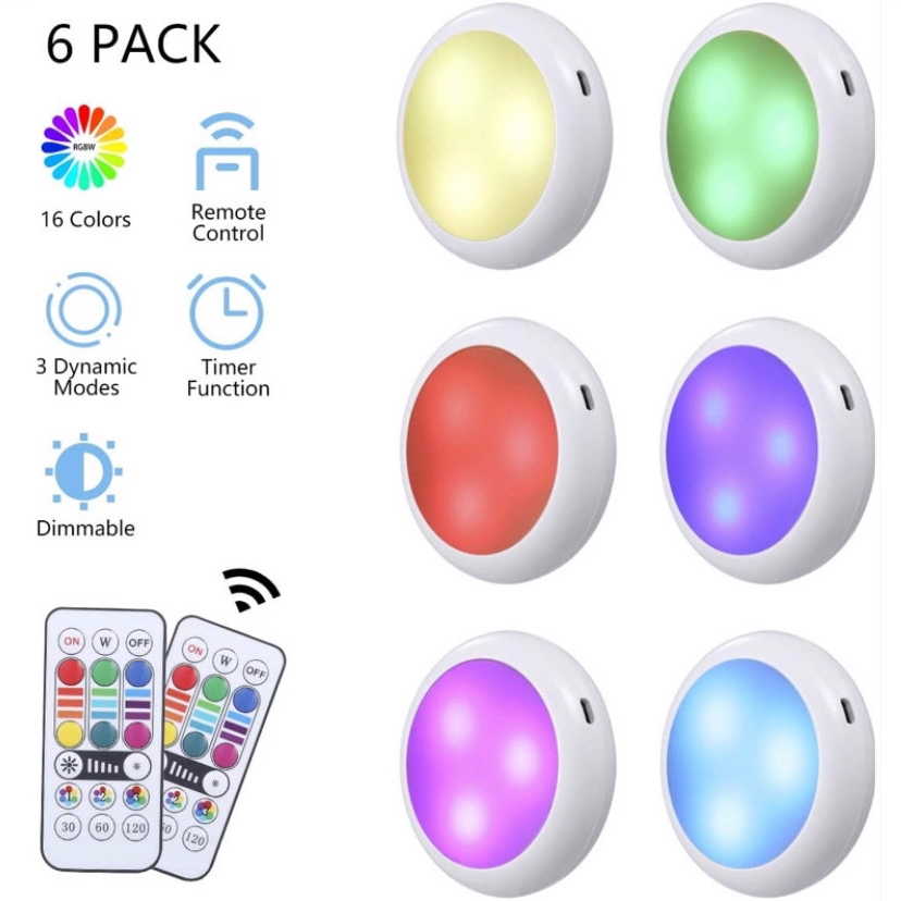 Under the dimmable Cabinet Lighting RGB Puck Lights Rechargeable 1000mAh Wireless wardrobe Remote Controller Night Lamp