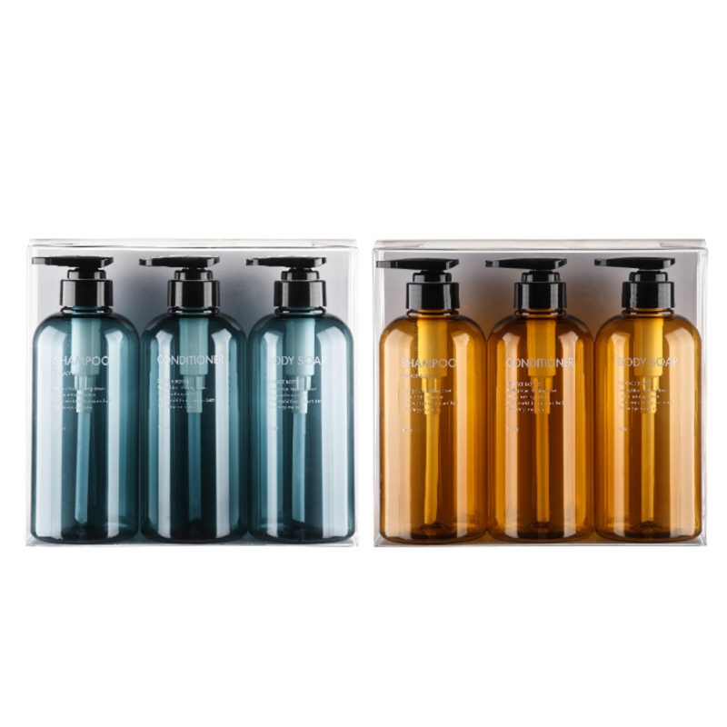 3Pcs/set Soap Dispenser Bottle Bathroom Shampoo Bottle High-capacity Press Type Lotion Body Soap Empty Bottle Set 300/500ml