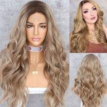 BeautyTown perruque avec Lace Front wig synthétique ondulée naturelle brune Ombre #8, résistante à la chaleur, cadeau de mariage, Halloween, pour femmes