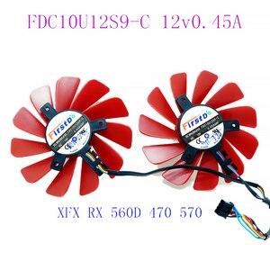 85MM FDC10U12S9-C 0.45AMP 4Pin refroidisseur ventilateur remplacement pour XFX RX 560D RX 570 RX 580 RX Vega graphique carte vidéo ventilateurs de refroidissement