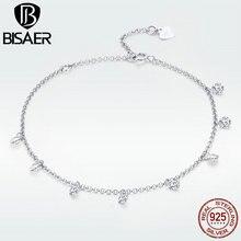 BISAER Silver Bracelet 925 Sterling Silver Chic Simple Clear CZ Bracelet for Women Fashion Jewelry Luxury Brand  Bangle GXB103 chic silver heart wing bracelet for women
