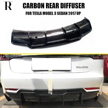 Model 3 Carbon Fiber Rear Bumper Lip Diffuser Protector  for Tesla Model 3 Sedan 4 Door 2017 UP