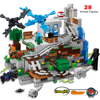 2020 For Compatible Village 30065 Tree House The Mine Mountain Model My World Figures Building Blocks Children Toys the tree house small building blocks sets with steve action figures compatible my world bricks set gifts toys