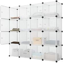 Shelf-System Wardrobe Storage-Shelf Plastic Portable with Doors 16-Compartments DIY Boltless
