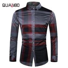 High Quality Business Casual men's Shirts 2019 New Autumn Men Long Sleeve Shirt Fashion Plaid Men Dress Shirts Plus Size 5XL 6XL