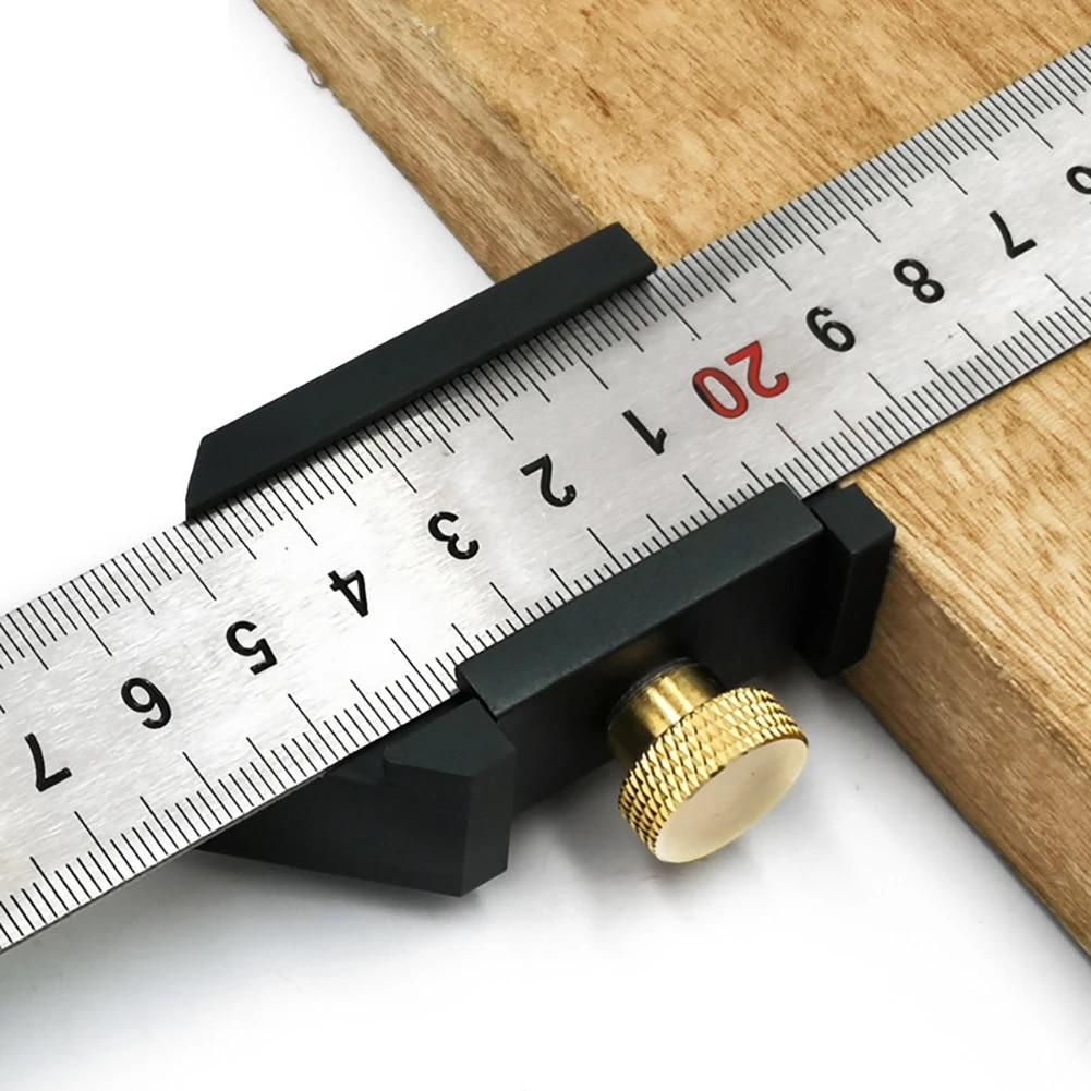 Angle Scriber Steel Ruler Positioning Block Woodworking Line Scriber Gauge New G