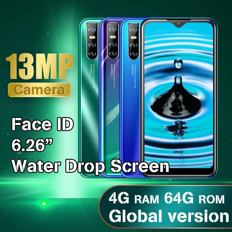 Оригинальный Y6 смартфонов 4G Оперативная память 64G Встроенная память 4 ядра 6,26