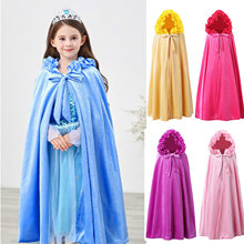 2019 new Anna Elsa winter plus velvet warm girl coat dressed as princess shawl cape coat for children's Halloween shawl(China)