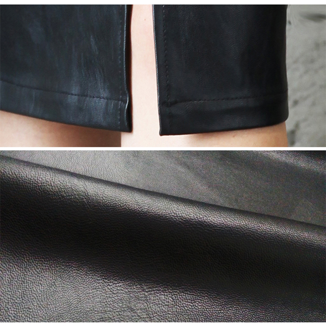 Aachoae Black PU Leather Skirt Women 2020 New Midi Sexy High Waist Bodycon Split Skirt Office Pencil Skirt Knee Length Plus Size 6