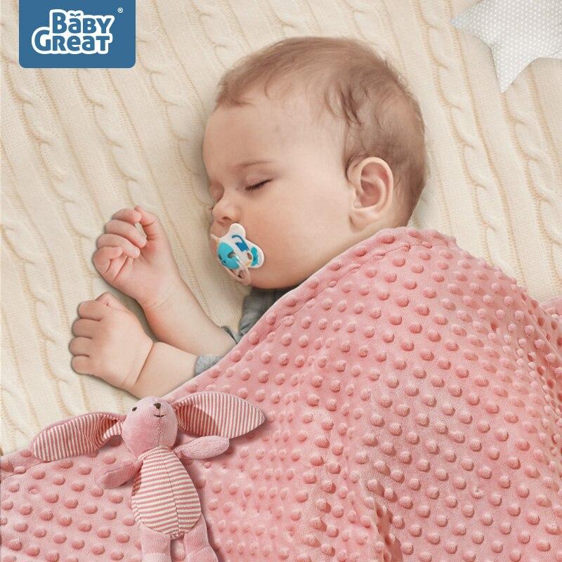 BABYGREAT bébé couverture en peluche Double couche 3D Minky Dot nouveau-né enfant en bas âge Swaddle couette Ultra doux enfants hiver apaiser couverture