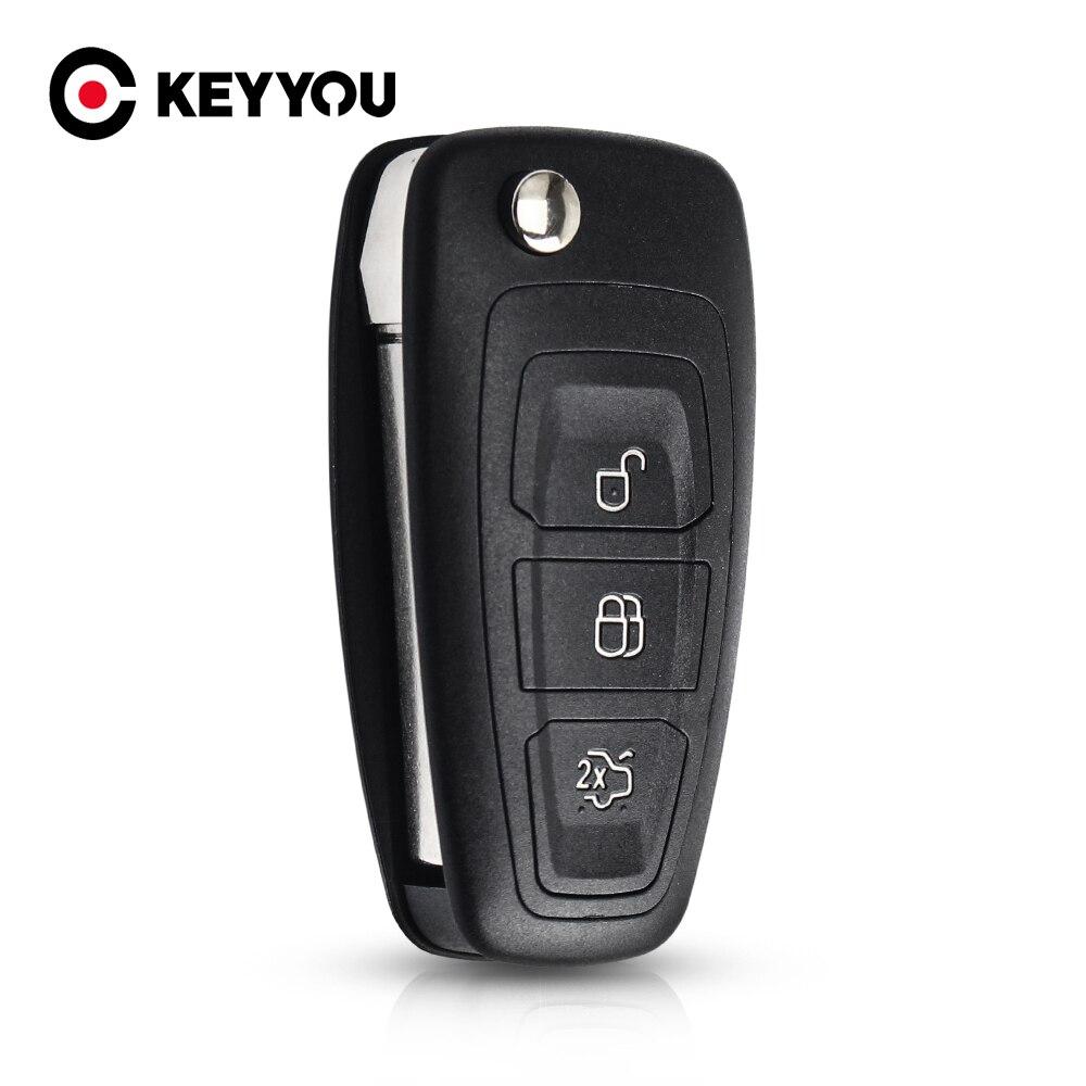 KEYYOU новый 3 кнопки для Ford Focus Fiesta 2013, чехол-брелок с лезвием HU101, откидной складной чехол для пульта дистанционного управления, чехол-брелок