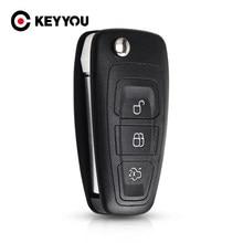 Keyyou chave eletrônica para ford focus fiesta 2013 fob, com 3 botões com lâmina hu101 dobrável capa com estojo