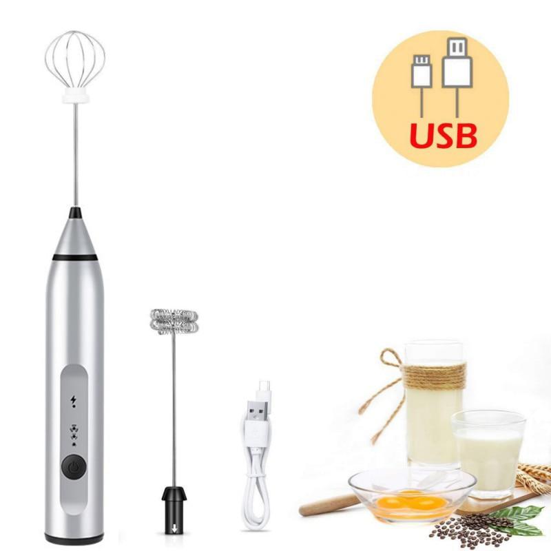 3-Cabeças de Batedor de Ovo Whisk Mixer Frother Eggbeater Agitador velocidades USB Recarregável Handheld Café Leite Beber Food Blender Ferramenta