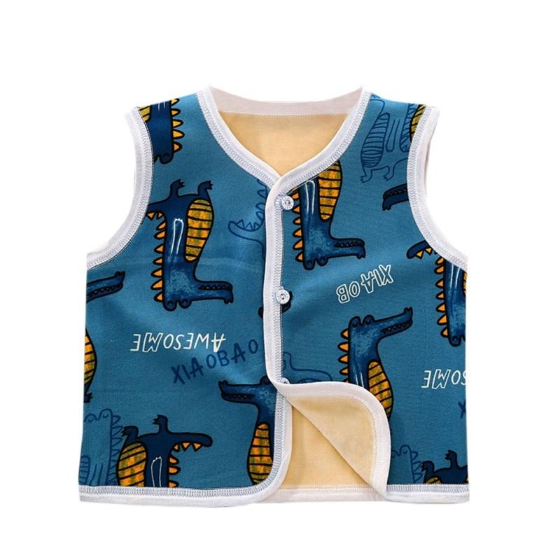 3 цвета, милые осенне-зимние повседневные модные детские жилеты без рукавов с мультипликационным принтом детские жилеты - Цвет: B