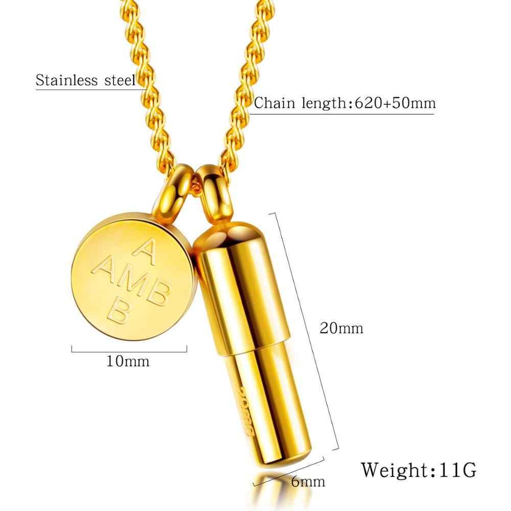 ゴールドカプセルピルとディスク火葬骨壷ネックレスステンレス鋼