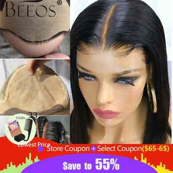 Beeos Fake Scalp Wig 13x6 Lace Front Invisible Knot Wig Straight Bob Wigs Pre Plucked Deep PartPeruvian Remy Hair - DISCOUNT ITEM  47% OFF All Category