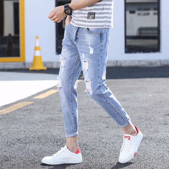 Men With Holes Jeans Men's Slim Fit Pants Popular Brand Capri Pants Summer 9 Thin Korean-style Scraping Rotten Beggar Pants