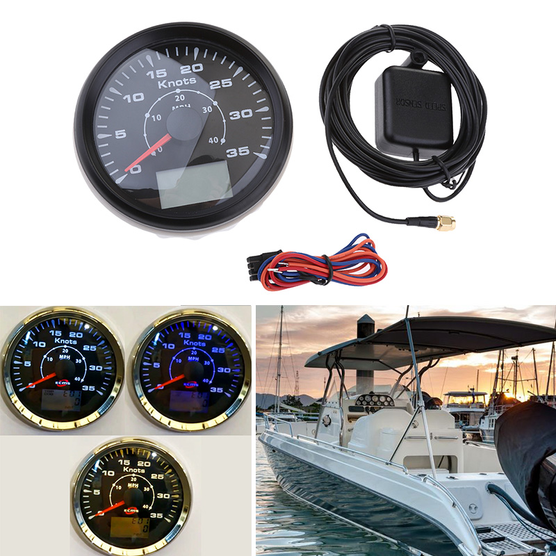 85mm Marine LED Backlight GPS Speedometer 35 Knots IP67 9-32V DC For RV Motorcycle Boat Yacht 8 Colors Boat Accessories Marine image