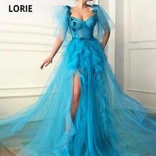 Lorie синие вечерние платья с цветочными оборками из тюля высоким