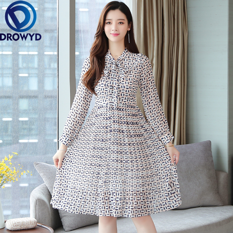 Fashion Pleated Chiffon Print Midi Dress for Women Casual Floral Long Sleeve Pocket Dress Elegant Club Party Dresses Vestidos in Dresses from Women 39 s Clothing