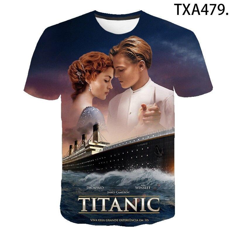 Novo verão titanic 3d t camisas casuais das mulheres dos homens crianças moda manga curta menino menina crianças impresso camiseta interessante topos t