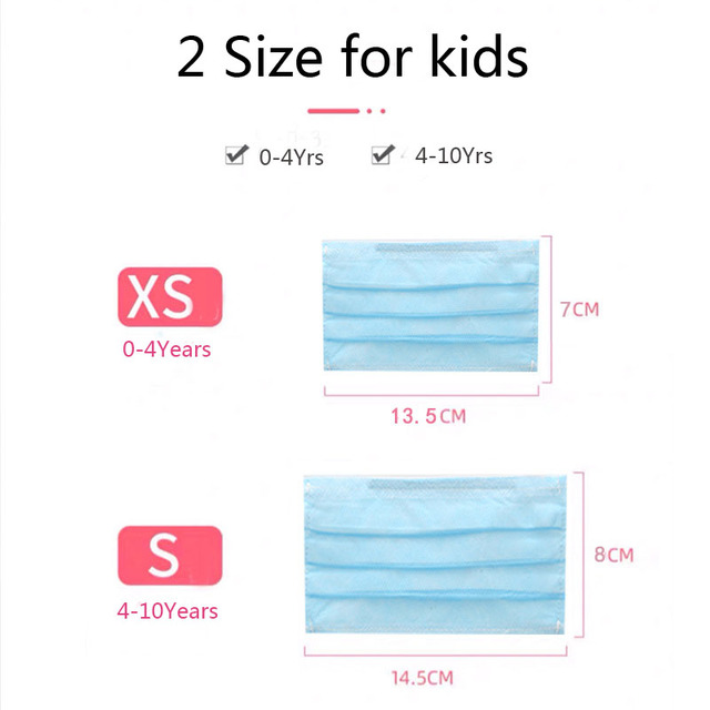 20Pcs Kids Disposable mask 3-Layer Non-woven Disposable Soft Breathable Flu Hygiene Face Mask for Children Mask 1