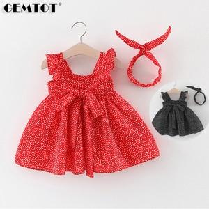 Одежда для маленьких девочек; одежда для малышей; шифоновое платье в горошек; платье Wave Point повязка на голову, детская одежда из 2 предметов М...