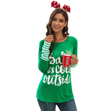 2019 Merry Christmas T-shirts for Women O-Neck Letter Printed Long Sleeve T-shirt Female Cute Tunic Casual Harajuku Top Big Size plus size christmas reindeer long sleeve tunic t shirt