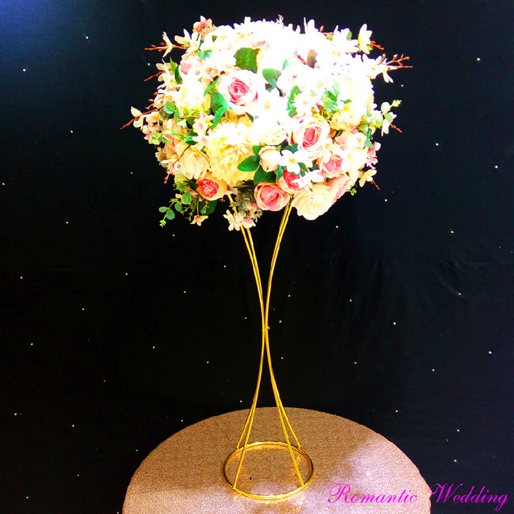 wedding : 10PCS lot  Flower Vases Gold Flower Stands Metal Road Lead Wedding Centerpiece  For Event Party Decoration