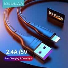 KUULAA iPhone için iPhone şarj kablosu USB kablosu için 2.4A hızlı şarj kablosu iPhone 12 11 Pro Max Xs X 8 7 artı SE USB kablosu veri hattı
