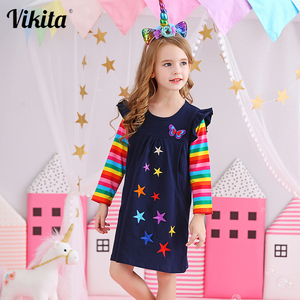 VIKITA Brand Girls Dresses Kids Baby Striped Roupa Infantil Dress Child Clothes Girls Butterfly Star Embroidery Cartoon Dresses(China)