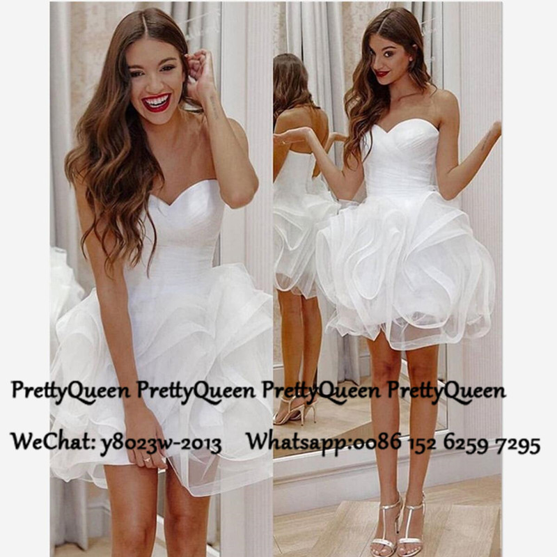 Little White Short Wedding Dress Puffy Ball Gown 2020 Sweetheart Neck Bridal Dresses For Women Vestido De Festa