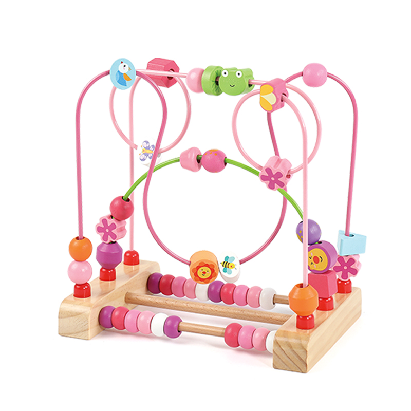 Kidus Wooden Bead Maze Toy Counting Circles Bead Abacus Wire Maze Roller Coaster Montessori Educational For Baby Kid