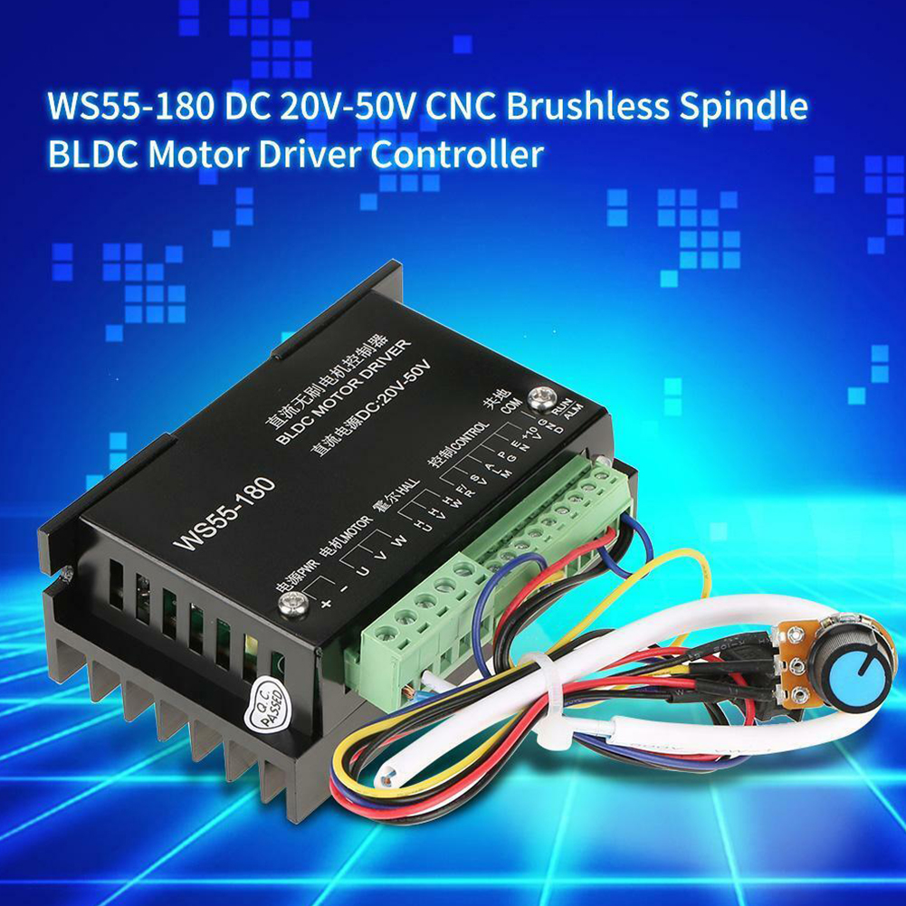 WS55-180 CNC Brushless Spindle Multiple Protection Wide Voltage For BLDC DC 20V-50V Motor Driver Controller Stable Electric