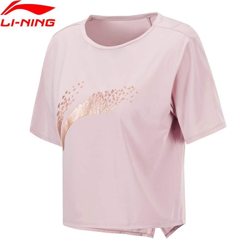 Li-Ning Women Training T-Shirts AT DRY Breathable 89%Polyester 11%Spandex Regular Fit LiNing Li Ning Sports Tees ATSP192 WTS1516