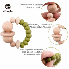 цены 1pc Baby Rattles Wooden Teething Toys Nursing Accessories Gift Silicone Beads Bracelet Baby Bpa Free Silicone Teether
