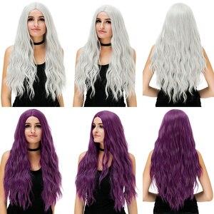Image 4 - MSIWIGS 70 センチメートルロングピンク波状のかつらコスプレ合成女性のブロンドかつら 29 色耐熱毛