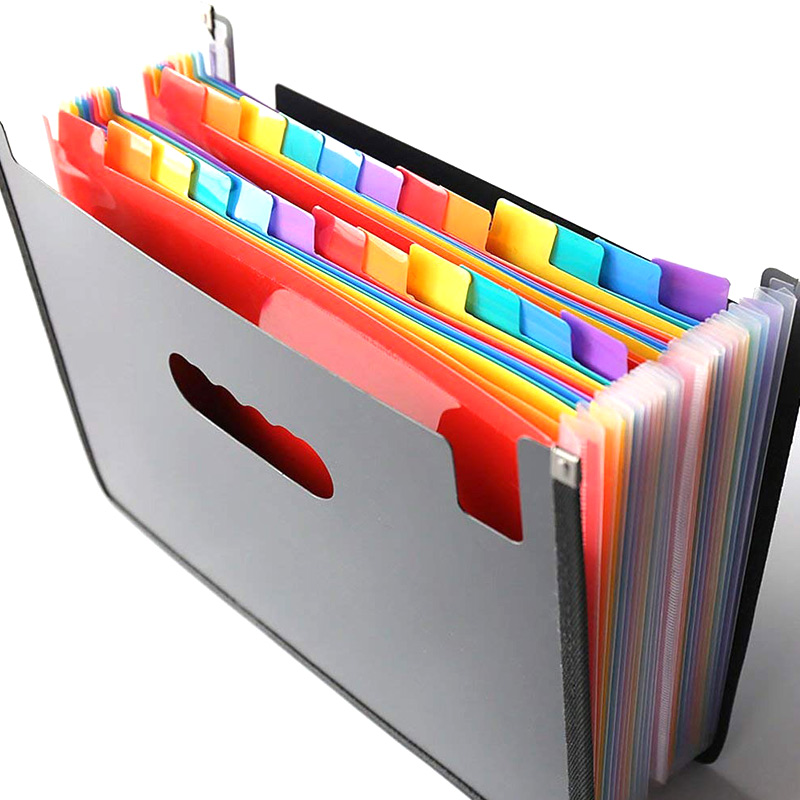 13/24 Pockets Expanding File Folder Works Accordion Office A4 Document Organizer Hi 888