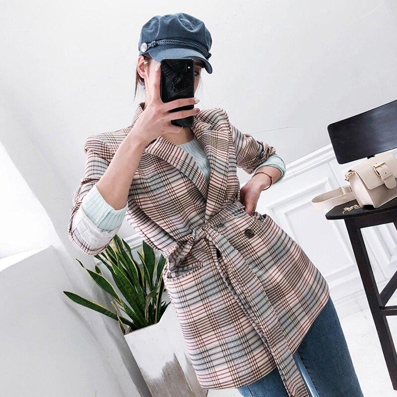 New Fashion Autumn Women's OL Professional Temperament Double-breasted Plaid Suit Fashion Comfortable Elegant Cute Suit Jacket