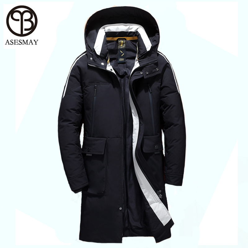 Asesmay 2019 Men Winter Coat White Duck Down Jacket High Quality Male Parkas Long Winter Down Coats Snow Warm Casual Outerwear