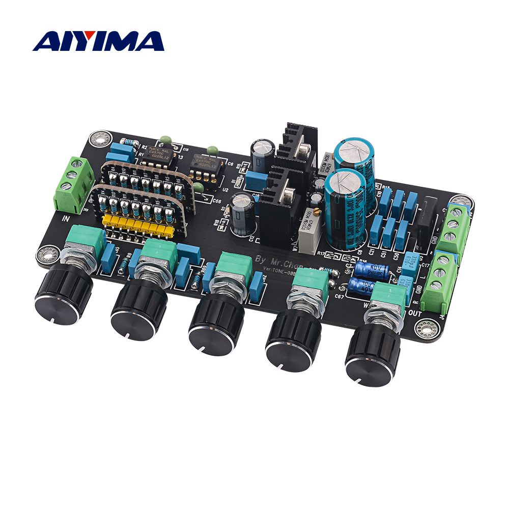 AIYIMA Preamp Tone Board UPC4570C OP AMP Stereo Preamplifier Volume Tone Control Super OPA2604 AD827JN With LM317 LM337 Circuit