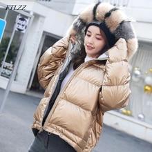 Jacket Women Double-Sided Short-Coat Artificial-Fur-Coat Duck-Down White Winter FTLZZ