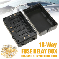 18 Way Fuse Relay Box Holder Block Circuit Protector Terminals + 10 way Relay Socket For Car Truck Boat