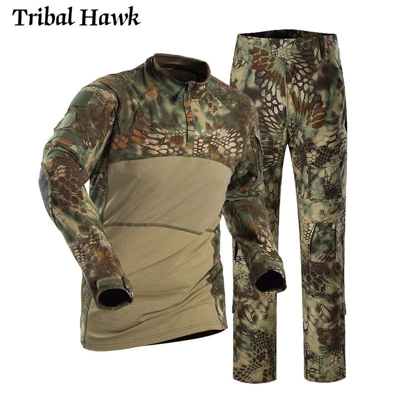Homme Camouflage Coton Armée T-shirt Qualité Militaire Combat Airsoft Fashion T-Shirt