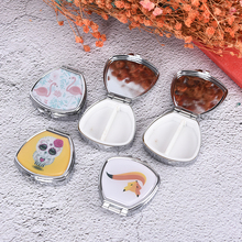 2 Cell Flower Cartoon Animal Tablet Pill Boxes Holder Small Case Silver Tablet P