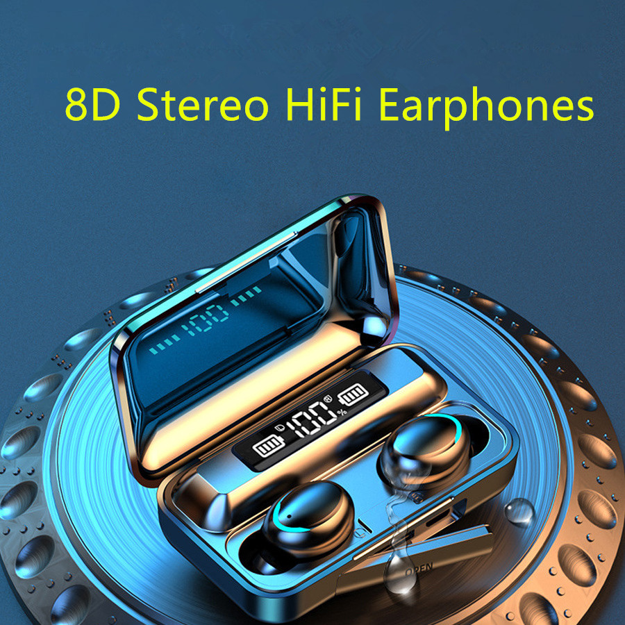 <font><b>TWS</b></font> <font><b>5.0</b></font> Bluetooth Earphones Wireless Earphone 8D Bass Stereo In-ear Earphones Handsfree Headset With Microphone Charging Case image
