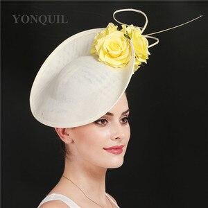 Image 3 - ゴージャスなkenducky大きな髪fascinatorsウェディングカクテル教会帽子エレガントな女性fedoraの女性ファンシー素敵なバラの花の帽子